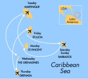 Cruise around the Caribbean visiting Barbados, St Vincent, Martinique, The Grenadines, Grenada and St Lucia.